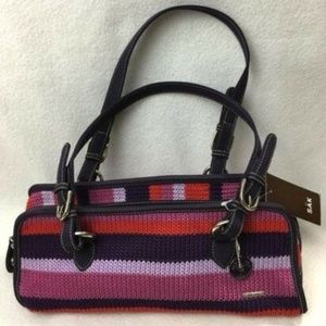 The Sak Crochet Stripe Triangle Barrel Bag Purse